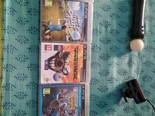 PS3 games and PS3 eye camera with motion controller