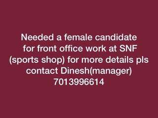 Wanted female for front office